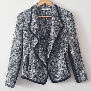 VINCE Draped Open Front Woven Bouclé Tweed Blazer